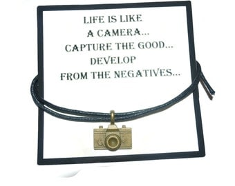 Camera cord charm bracelet with 3.5 inch encouragement quote note card