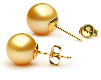 Golden South Sea Pearl Stud Earrings - 14kt Gold - 9-10mm - Stud Earrings - Pearl Stud Earrings -  Pearl Earrings