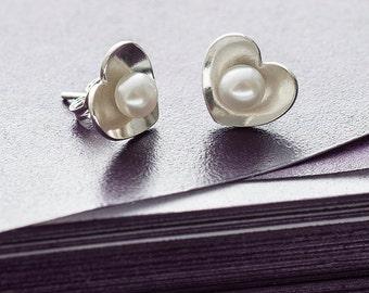 Pearl Heart Studs