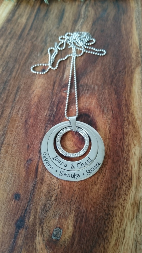 Hand stamped 2 tier Necklace with swarovski crystal circle. Personalized
