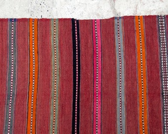 Summery Red - Striped Runner - Vintage Rug - 228x41cm (89x16inches)
