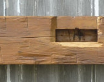 Hand Hewn Barnwood Mantel Beam w/Poly finish, #21