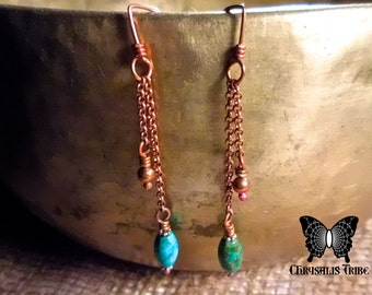 Turquoise and Copper Two Chain Dangle Earrings