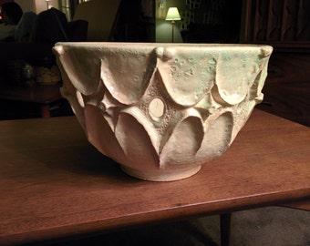 Large studio art mid century styled ceramic bowl