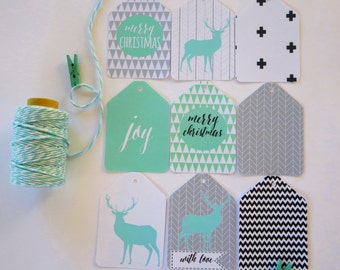Modern Merry Christmas Gift Tags/ Reindeer Silhouette Gift Tags/ Geometric Patterns -Assorted - GTXMAS 01