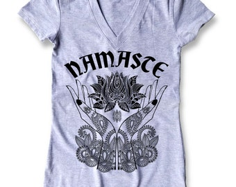 Namaste Henna graphic Women's Fitted V-Neck T-Shirt