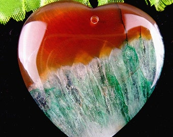 46mm  Green and Salmon Red  Agate, Druzy, 46mm Heart Gemstone Pendant Bead