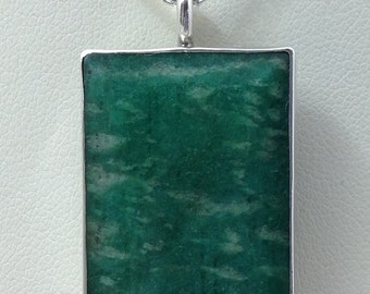 Large Amazonite pendant set in SS on med. chain.