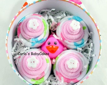 Baby washcloth cupcakes | New mom gift | Baby shower gift | New baby gift | Baby sprinkle gift | Baby shower decoration | Baby bath gift