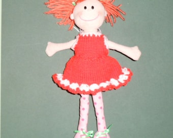 KNITTED DOLLS CLOTHES for an Irish Softies doll.