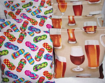 8 ACA Regulation Cornhole Bags - Beer Mugs & Glasses and Fun Flip Flops