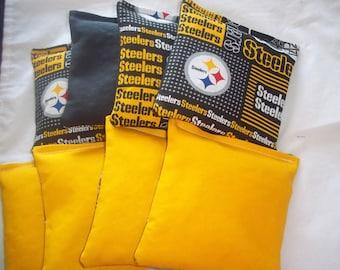 8 ACA Regulation Cornhole Bags - 4 handmade from Pittsburgh Steelers Print Fabric & 4 Solid Yellow