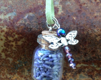 Lavender in a Bottle Necklace - Organic Lavender, Leather Cord, Cork Bottle, Beaded Dragonfly