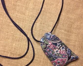 Blue Paisley Lavender Sachet Necklace