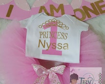 Light Pink and Gold Birthday Tutu Set~1st Birthday~Pink and Gold~Cake Smash Photo Outfit~Princess