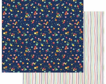 2 Sheets of Photo Play HAPPY GLAMPER 12x12 Scrapbook Paper - Multi Floral (Camping Theme) HG2252