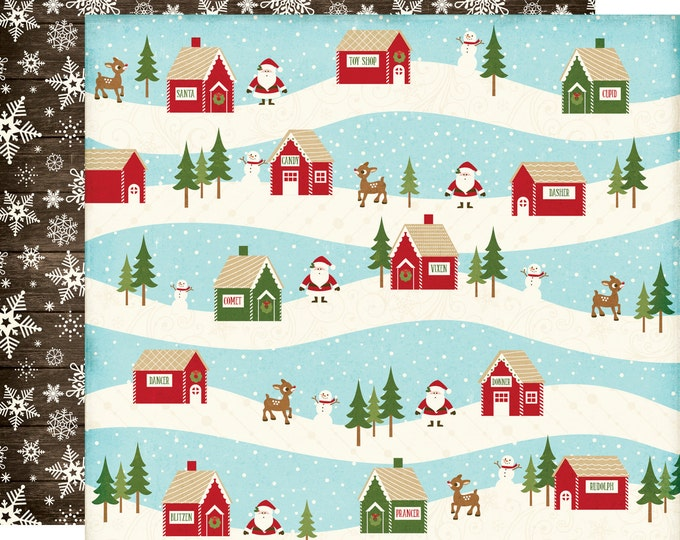 2 Sheets of Echo Park Paper THE STORY of CHRISTMAS 12x12 Scrapbook Paper - Village (TSC94008)