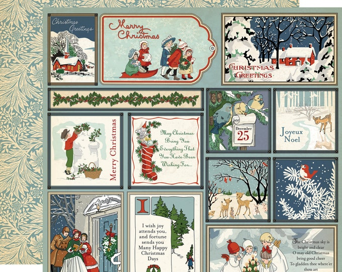 1 Sheet of Carta Bella Paper CHRISTMAS WONDERLAND 12x12 Scrapbook Paper - Journaling Cards (CBCW46002)