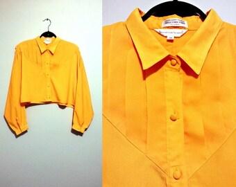 bright yellow orange crop top size xl