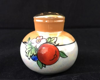 Lusterware Sugar Shaker, Orange Lusterware Sugar Shaker, Salt Shaker, Cherry Sugar Shaker, Apple Sugar Shaker, Japan Lusterware, Floral