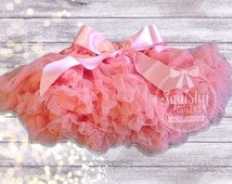 Light Coral Petti Skirt with Bow, Poofy Skirt, Petti Tutu, Baby Skirt, Smash Cake Outfit, Girl Birthday Outfit, Peach Baby Skirt