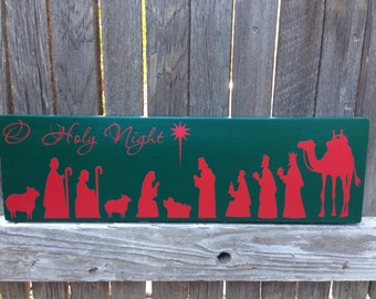 Christmas Nativity Scene Sign Mantle Decor Christmas Mantle Christmas Decoration Nativity Scene Christmas Sign Holiday O Holy Night Sign