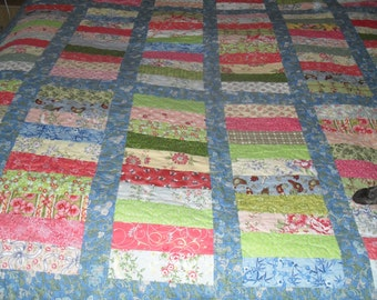 "A  ""stacked coins"" quilt single bed size"