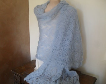 Mohair silk shawl in powder blue.
