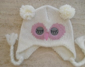 Knitted Baby Girl Owl Hat, Baby Animal Hat, Baby Hat  - Size 3 to 5 Years Ready Made