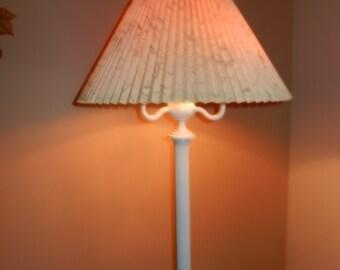 White Wrought Iron Floor Lamp with Three Lights, - Circa 1950