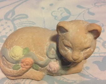 Vintage Cat Figurine Terra Cotta Cat