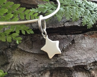 star charm bangle, silver bangle, star charm, sterling silver star, gift for teenage girl, gift for girlfriend, gift for sister