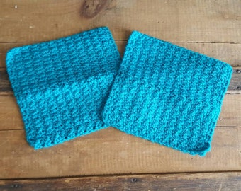 Crochet Dish Cloths Crochet Linens Crochet Dish Rags Handmade Dish Cloths Kitchen Accessories Teal Cotton Dish Cloths Turquoise Kitchen