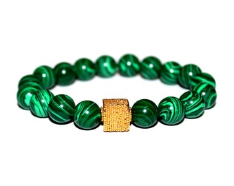 Green Malachite and 22 Karat Gold Vermeil Bracelet. Green Malachite Bracelet. Gold Vermeil Bali Bead. Vermeil Green Malachite Bracelet.
