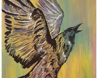 """Original 11x14 Painting """"Crow"""""""
