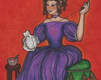Curly Locks Nursery Rhyme Original Drawing 8x10 Portrait Fashion Gown