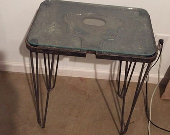 Filca industrial modern end table/night stand cast iron and glass loft