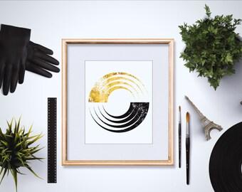 Gold Geometric Art - Abstract Geometric Art - Black and Gold - Gold Abstract Art - Gold Foil Prints - Wall Art - Office Decor