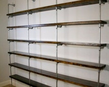Industrial Shelving Unit, Industrial Office furniture, Office shelving, Urban pipe shelving, Metal and wood shelving
