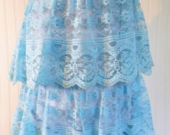 A Piece of 1970's Aqua Lace Skirt Ruffled Lace Ruffled Skirt Blue Lace Turquoise Lace for Repurpose Upcycle