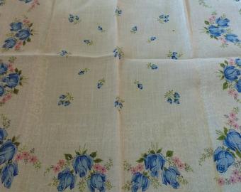 Vintage Handkerchief Hanky White And Blue Floral Vintage Hankies