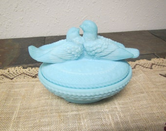 vintage Blue Satin Glass Love birds, or Doves nesting, covered box , candy dish