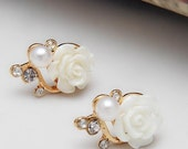 Roses earrings for women, earrings , White Rose, earring studs, bijouterie, earrings gift, wedding earrings