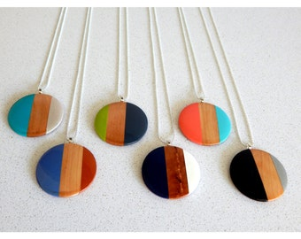 Wooden Pendant/Necklace/handpainted/silvernecklace/woodenpendant/handmade/modernnecklace/geometricnecklace/giftideas/trendingjewellery