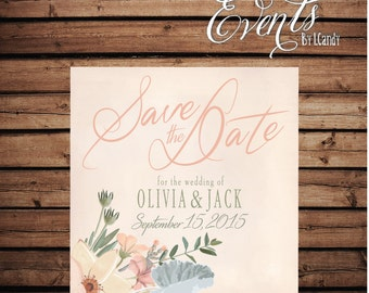 Printed Square Wedding Save-the-Date Postcard - rustic floral with peach 212