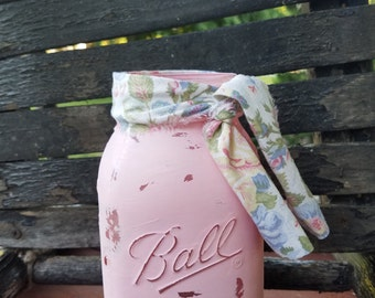 SALE! Pink Shabby Chic Mason Jar, Painted Mason Jar, Wedding Decor, Baby Shower Decor, Pink Mason Jar, Rustic Decor, Mason Jar with Fabric