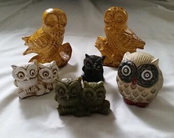 Set of 6 Owl Figurines