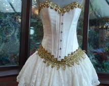 Christmas Fairy Victorian hen night party burlesque boned corset gold lace trimmed with skirt lace frilled layers and satin boned corset