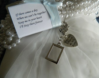 "Diy Photo Retangle double sided  bouquet charm - ""You are always in my heart-Gift Boxed -"