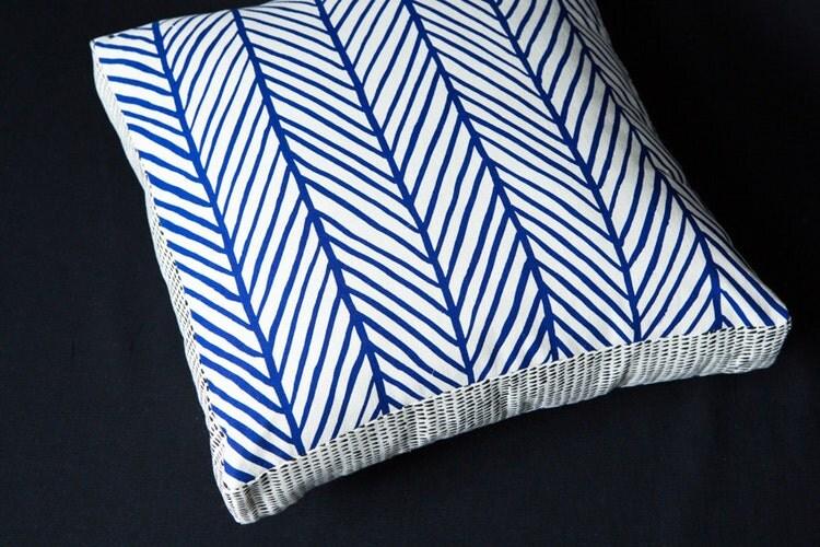 Herringbone blue 40cm x 40cm box cushion hand screen by inkobject